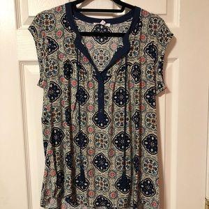 Blue patterned DR2 blouse